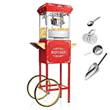 Olde Midway Vintage Style Popcorn Machine Maker Popper with Cart and 6-Ounce Kettle - Red