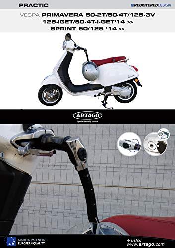 Artago 1583ART Anti-Theft Practic Art High Range Handlebar Lock with Bracket for Vespa Spring Sprint 50/125 2014 2018
