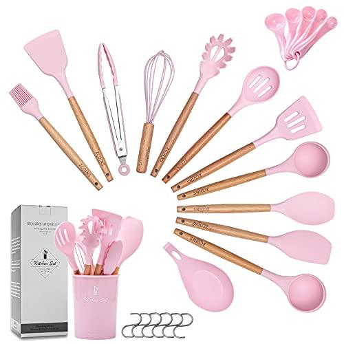 Zcoins, set di 18 +1 utensili da cucina in silicone con manici e supporto in legno, set di utensili da cucina (rosa)