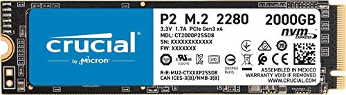 Crucial P2 CT2000P2SSD8 SSD Interne 2To, Vitesses atteignant 2400 Mo/s (3D NAND, NVMe, PCIe, M.2)