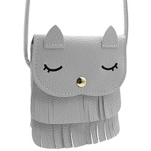 Little Girls Purses Pink Cute Cat Shoulder Crossbody Bag for Kids,Toddler,Girls Cute Cat Ear Shoulder Bag Bag-Gray