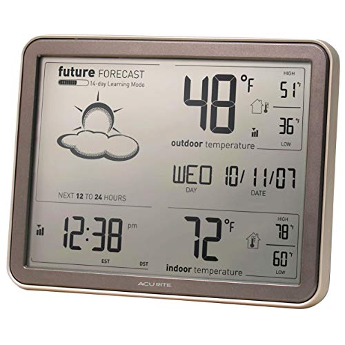 AcuRite 75077A3M Self-Learning Forecast Wireless Weather Station with Large Display and Atomic Clock,Black