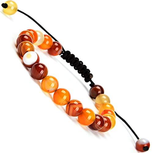 Massive Beads Amber Agate 8mm Braided Macrame Bracelet...