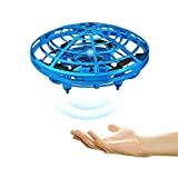 Pevor Mini Induction Aircraft UFO Flying Ball Toy Gravity Defying RC Quadcopter Interactive Infrared Helicopter with Flashing Lights 360° Rotating Free Hover Automatic Sens (Blue)