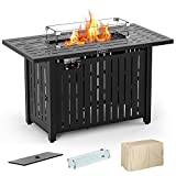 43in Outdoor Propane Gas Fire Pit Table with Glass Wind Guard, Glass Rock, Waterproof Cover, SNAN Retangular 50,000 BTU Auto-Ignition CSA Certification
