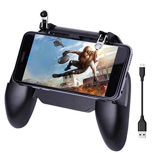 HEYSTOP Controlador de Juego Móvil, Mando Movil PUBG Portátil con Banco de Energía y Ventilador de Enfriamiento, Sensible de Disparo y Aim Keys L1R1 y Gamepad para Android y iOS