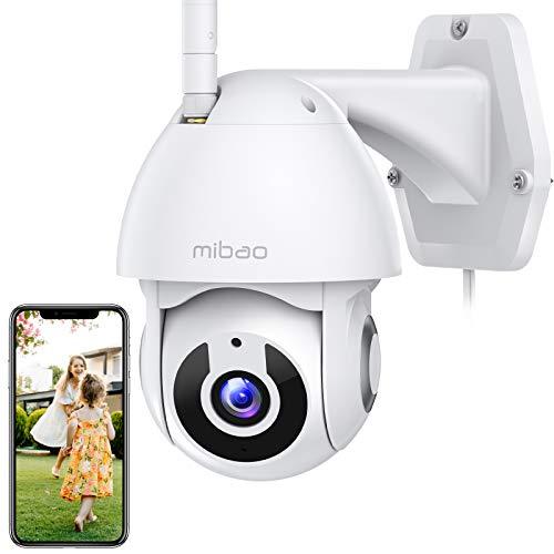 1296P Telecamera di sicurezza per interno/esterno, Mibao telecamera WiFi con panoramica a 360°, impermeabile IP66, visione notturna, rilevamento del movimento, APP iOS/Android, funziona con Alexa