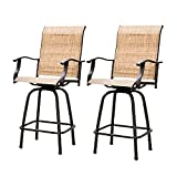 2 Piece Swivel Bar Stools Outdoor High Patio Chairs Furniture with All Weather Metal Frame