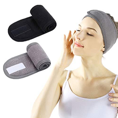 Fascia Spugna Makeup - Fascia per Capelli per Trucco Spa per Doccia Regolabile in Velcro per Lavaggio del Viso, Trucco e Sport (black+gray)