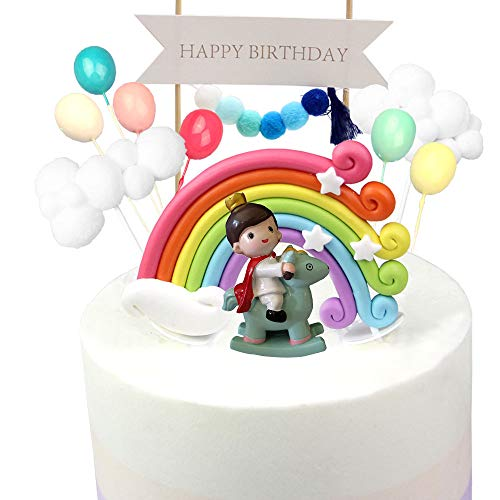 Kitchen-dream 13PCS Prince and Princess Birthday Cake Kit Decorazioni per torte arcobaleno con palloncino di ghirlanda Palloncino colorato e Prince, ideale per la festa di compleanno per bambini