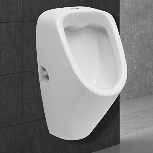 ECD Germany Urinal mit Zulauf von oben - Ablauf nach hinten - aus Keramik - Weiß - Modernes Design - WC Pissoir Pinkelbecken Urinalbecken Becken