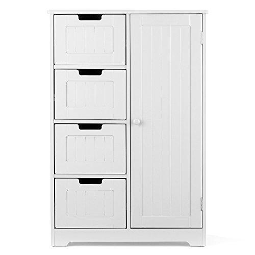 IKAYAA Modern Shelved Floor Cabinet con Porta e cassetti Bedroom Storage sottolavabo in Legno...
