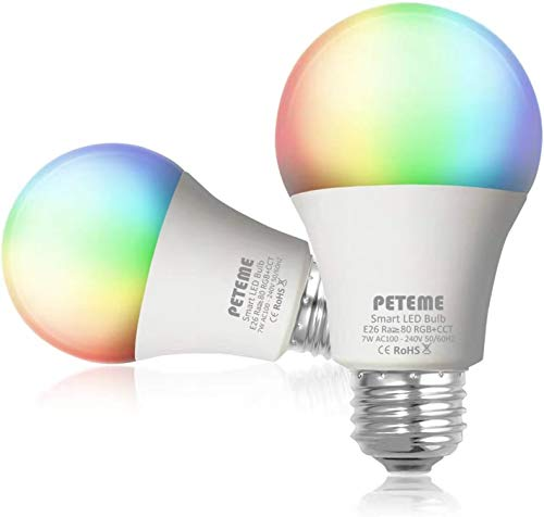 Peteme Smart Alexa Light Bulb 2.4G(not 5G) E26 Multicolor WiFi Light Bulb, Work with Alexa, Siri, Echo. Google Home (No Hub Required), A19 60W Equivalent RGB Color Changing Bulb (2 Pack)