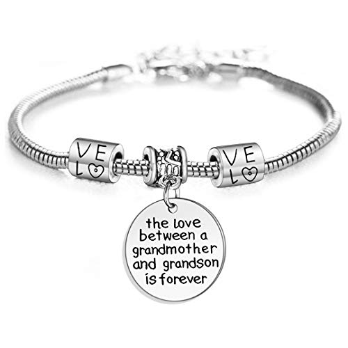 Love between a Grandmother and Grandson is Forever Charm Bracelet Family Jewelry Grandma Christmas Gift