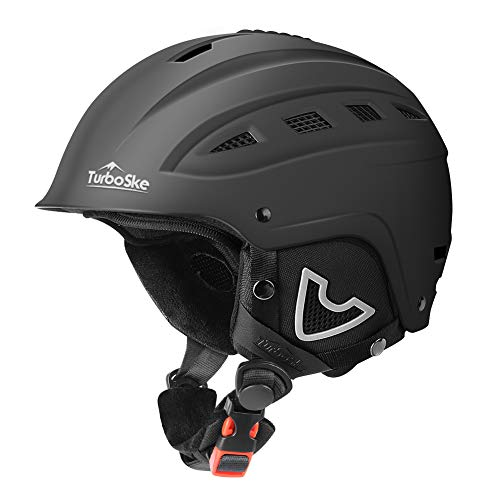 TurboSke Ski Helmet, Snow Sports Helmet, Snowboard Helmet Men Women Youth (Black, L (22'-22.8')).