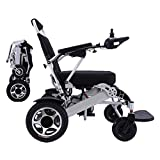 2021 Folding Electric Powered Wheelchair Lightweight Portable Smart Chair Personal Mobility Scooter Wheelchair - Weighs only 58 lbs with Battery - Supports 400 lb (Silver)