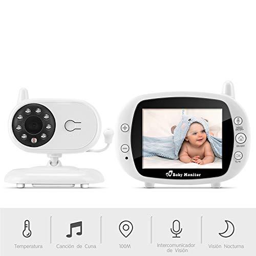 "Vigilabebés Inalámbrico, BOIFUN Bebé Monitor Inteligente con Pantalla LCD 3.5"", Cámara Vigilancia Bebe, Visión Nocturna, Monitoreo de Temperatura, Comunicación Bidireccional - Ampliable a 4 Cameras"