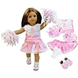 Dress Along Dolly Cheerleader Doll Outfit for American Girl & 18' Dolls - 4 Piece Cheerleading Clothes Include Poms Poms, Uniform, Socks, & Cheer Shoes