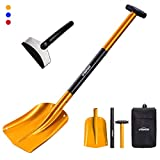 """Overmont Aluminum Sport Utility Shovel 3 Piece Collapsible Design 26"""" – 32"""" Lightweight Portable Snow Shovel for Car, Camping, Garden and Other Outdoor Activities"""