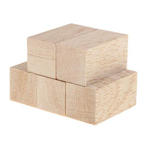 IPOTCH 5 Stück Balsaholz Blöcke Holz Quadrat Blöcke Spielsteine Bastelholz Modellholz Würfel Für Handwerk Basteln - Holz + Holz, 30x30x80mm
