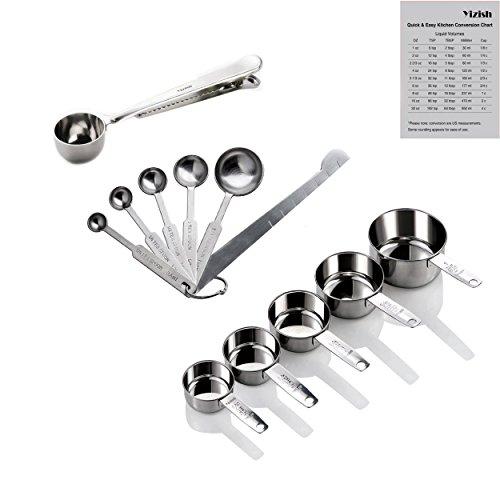 Yizish Edelstahl Messbecher und Löffel mit Messlineal, Scoop mit Clip, Küchenumrechnungstabelle 12er Set für Trockene und Flüssige Zutaten