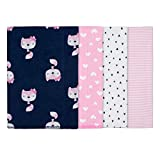 GERBER Baby Girls' 4-Pack Receiving Blanket, Pink Fox, 30' x 30'