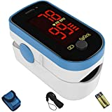 CHOICEMMED Sky Blue Finger Pulse Oximeter - Blood Oxygen Saturation Monitor - SPO2 Pulse Oximeter -...