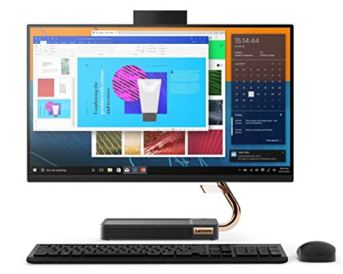 """Lenovo IdeaCentre AIO 5 23.8"""" FHD All-in-One Desktop (10th Gen Intel Core i5/8GB/512GB SSD + 1TB HDD/Win10/Office'19/JBL Speakers with Woofer/Wireless Charging Pad for Smartphones) Black (F0FB002PIN)"""