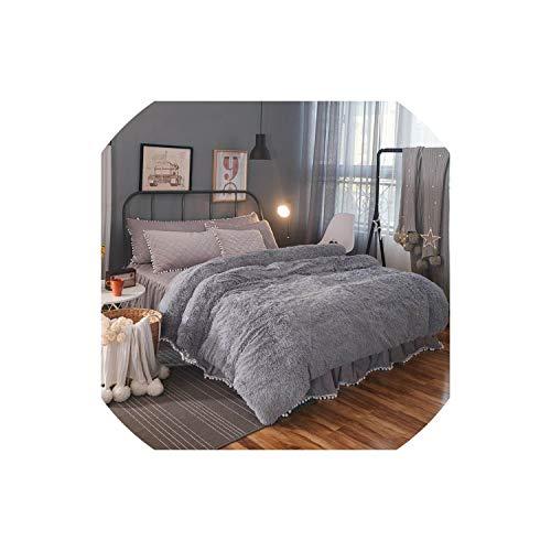 TaiGu European Royal Mink Velvet Bedding Sets Super Warm Soft Winter Crystal Velvet Duvet Cover Bedclothes Bed Sheet Queen King siz,Gray,King Size