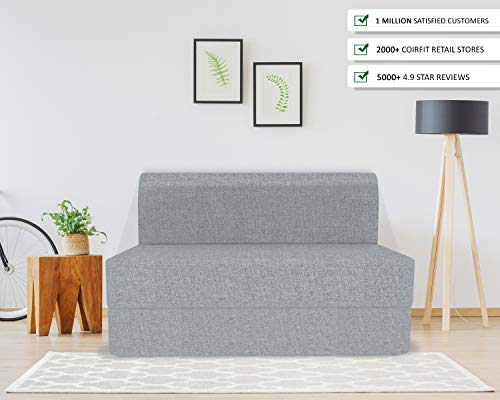Coirfit Folding Sofa Cum Bed - Perfect for Guests - Jute Fabric Washable Cover(2 Seater) - Grey | 4' X 6' Feet