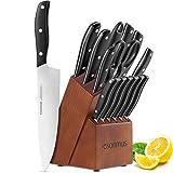 esonmus Set de Couteaux avec Bloc en Bois, Couteaux de Cuisine avec Lame en Acier Inoxydable et Poignée Ergonomique en ABS, 15 Pièces