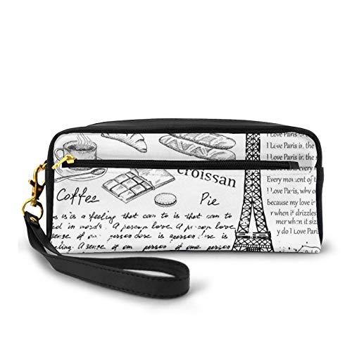 Piccola borsa per il trucco, con elementi parigini tradizionali famosi bonjour croissan caff Eiffel Torre Illustrazione,PU pelle Zip viaggio cosmetici sacchetto e matita organizzatore