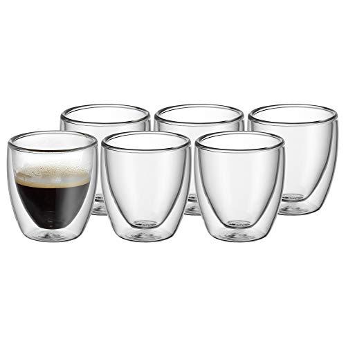 WMF Kult - Set di 6 tazzine da caffè a doppia parete, 80 ml, effetto fluttuante, bicchieri termici, resistenti al calore