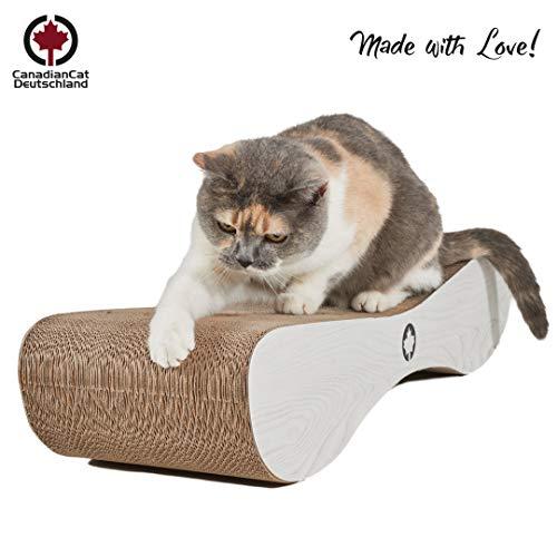 CanadianCat Company ®   XXL Kratzpappe Lounge   76 x 24 x 15 cm   Kratzmöbel, Kratzbrett   Katzen Pappe +Katzenminze   weiße Holzoptik