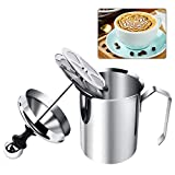 Manual Milk Creamer Hand Pump Frother Cappuccino Latte Coffee Foam Pitcher with Handle, Lid, Double Layer Filter Screen, Stainless Steel, 17-Ounce Capacity (500ml)