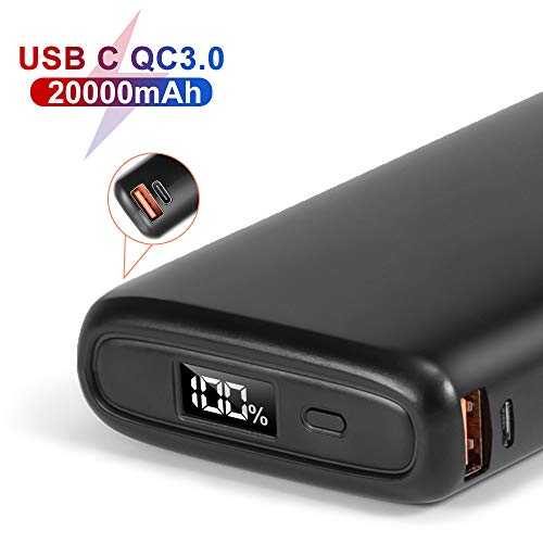POSUGEAR Powerbank 20000mah USB 18W Power Bank Ricarica Rapida (Quick Charge 3.0 & Power Delivery) con 3 Uscite e LED Dispaly Compatibile con Telefoni e Laptop (Due Cavi Offerti - USB C e Micro)…