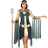 Spooktacular Creations Egyptian Goddess Queen Cleopatra Costume for Women Halloween Role-Playing Cosplay(Medium) Green