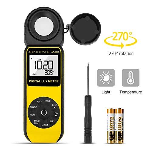 Belichtungsmesser,Digitales LUX-Messgerät Bis zu 400.000 Lux, digitales Hand-Lichtmessgerät, Umgebungstemperatur CE, ISO, ROHS, GMC-Zertifiziert
