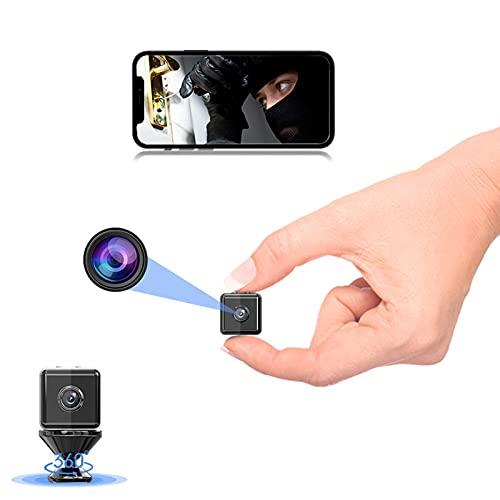 Telecamera Nascosta,Sansnail Mini Telecamera Spia Wifi Portatile Microcamera con Visione Notturna Piccole Videocamera di Sorveglianza Senza Fili Spy Cam Rilevamento di Movimento per Esterno/Interno