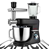 COOKLEE 6-IN-1 Stand Mixer, 9.5 Qt. Multifunctional Electric Kitchen Mixer with 9 Accessories for Most Home Cooks, SM-1507BM, Nero Nemesis Black