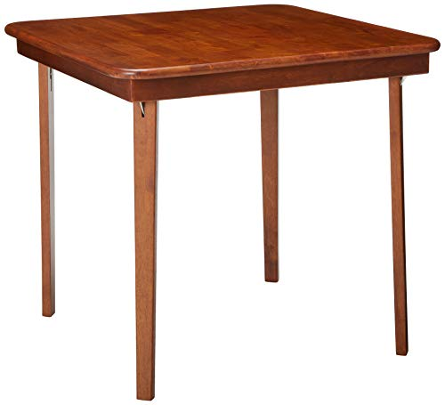 Meco STAKMORE Straight Edge Folding Card Table Cherry Finish