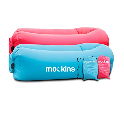 Mockins 2 Pack Inflatable Lounger Air Sofa Perfect for Beach Chair Camping Chairs or Portable Hammock and Includes Travel Bag Pouch and Pockets   Easy to Use Camping Accessories -Blue and Pink Color