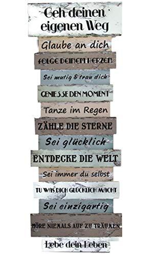 Bada Bing Wandschild Ca. 41, x 15 cm Lebenseinstellung Wünsche Bild Plankenoptik Spruch Schild Deko...