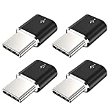 USB Type C Adapter,4-Pack (Mini Version) Aluminum Micro USB to USB C Convert Connector Fast Charging Compatible Samsung Galaxy S10 S9 S8 Plus,Note 9 8,Pixel 3 2 XL,LG V35 V30 G7 G6,Moto Z2 Z3(Black)