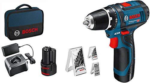 Bosch Professional 12V System Perceuse-Visseuse sans Fil GSR 12V-15 (Incl. 2X2.0 Batterie + Chargeur, 39 Pcs. Set d'Accessoires, dans un Sac) - Amazon Exclusive