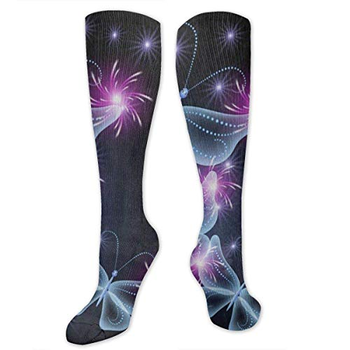NA Calcetines elásticos Black Butterfly Firework Star Gran calidez invernal para mujeres y hombres Deportes atléticos