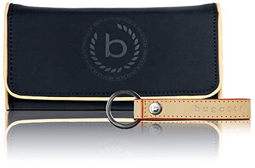 Bugatti Lido Geldbörse Damen Groß RFID - Frauen Geldbeutel mit Reißverschluss Lang - Damengeldbörse Langbörse Portemonnaie im Querformat, Navy Blau