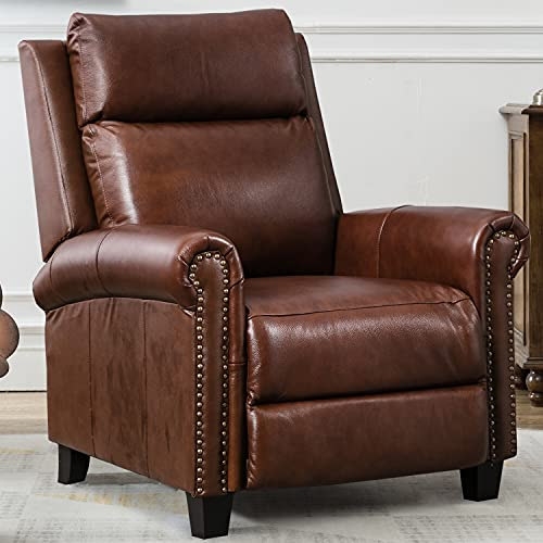 CANMOV Genuine Leather Recliner Chair, Classic and Traditional Push Back Recliner Chair with Comfortable Arms and Back for Living Room Bedroom Adjustable Single Sofa, Red Brown