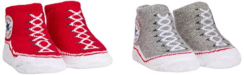 Converse 2 PK Bootie, l'insieme dei Vestiti Unisex Bimbi, Red/Vintage Grey Heather, 0-6 Mesi