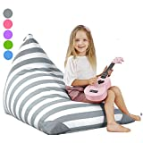 Aubliss Stuffed Animal Storage Bean Bag Chair Cover for Kids, Girls and Adults, Beanbag Cover Only, 23 Inch Long YKK Zipper, Premium Cotton Canvas, Xmas Gift Ideas(Grey Stripe)